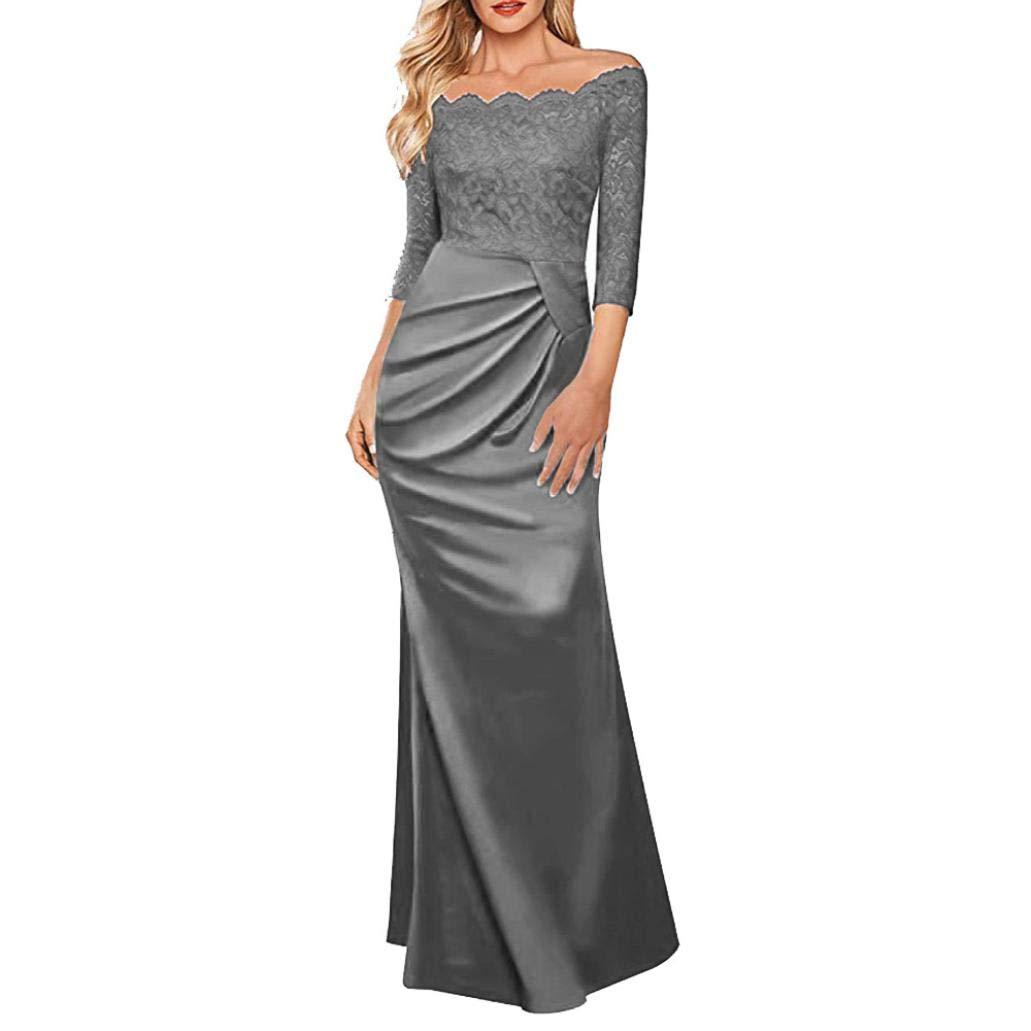 TALLA M. Overdose Vestido Largo Formal De La Tarde del Partido De Tarde del Vestido Largo del Partido De La Tarde del Hombro De Las Mujeres del Vestido De La Dama De Honor del Vestido del Concierto Gris