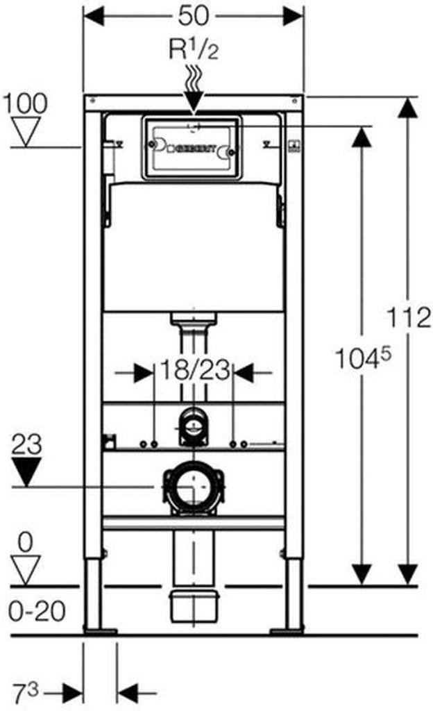 Elemento di montaggio Durofix Basic per WC a muro con cassetta di risciacquo UP100 112 cm Geberit 458103001