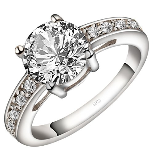 (Viyino Women's Round 3ct Cubic Zirconia Promise Halo Solitaire Engagement Ring 925 Sterling Silver (5.5))