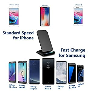 iPhone X wireless charger, Alice Dreams Stand up Wireless Charger Fast Charging Pad Stand station dock for Apple iPhone 8 8 plus Samsung Galaxy S8 Plus S8+ S7 Edge Note 5 S6 Edge (black)