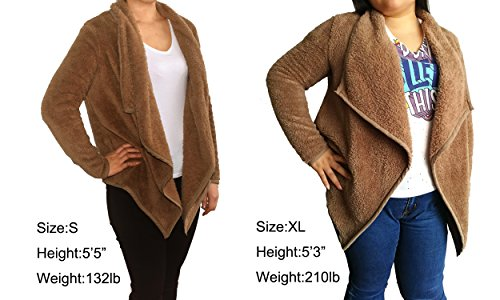 Clearance Sale Lapel Fuzzy Sweater for Women Warm Fluffy Fleece Cardigan Loose Open Front Coat Long Sleeve Outwear (Coffee, M) by TOOTO (Image #5)