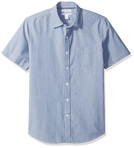 Amazon Essentials Mens Slim-Fit Short-Sleeve Stripe Shirt