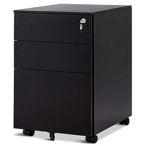 Costway Rollcontainer Mit 3 Schubladen Abschließbarer Büroschrank Aktenschrank Büromöbel Bürocontainer 39x48x60cm Farbwahl Schwarz