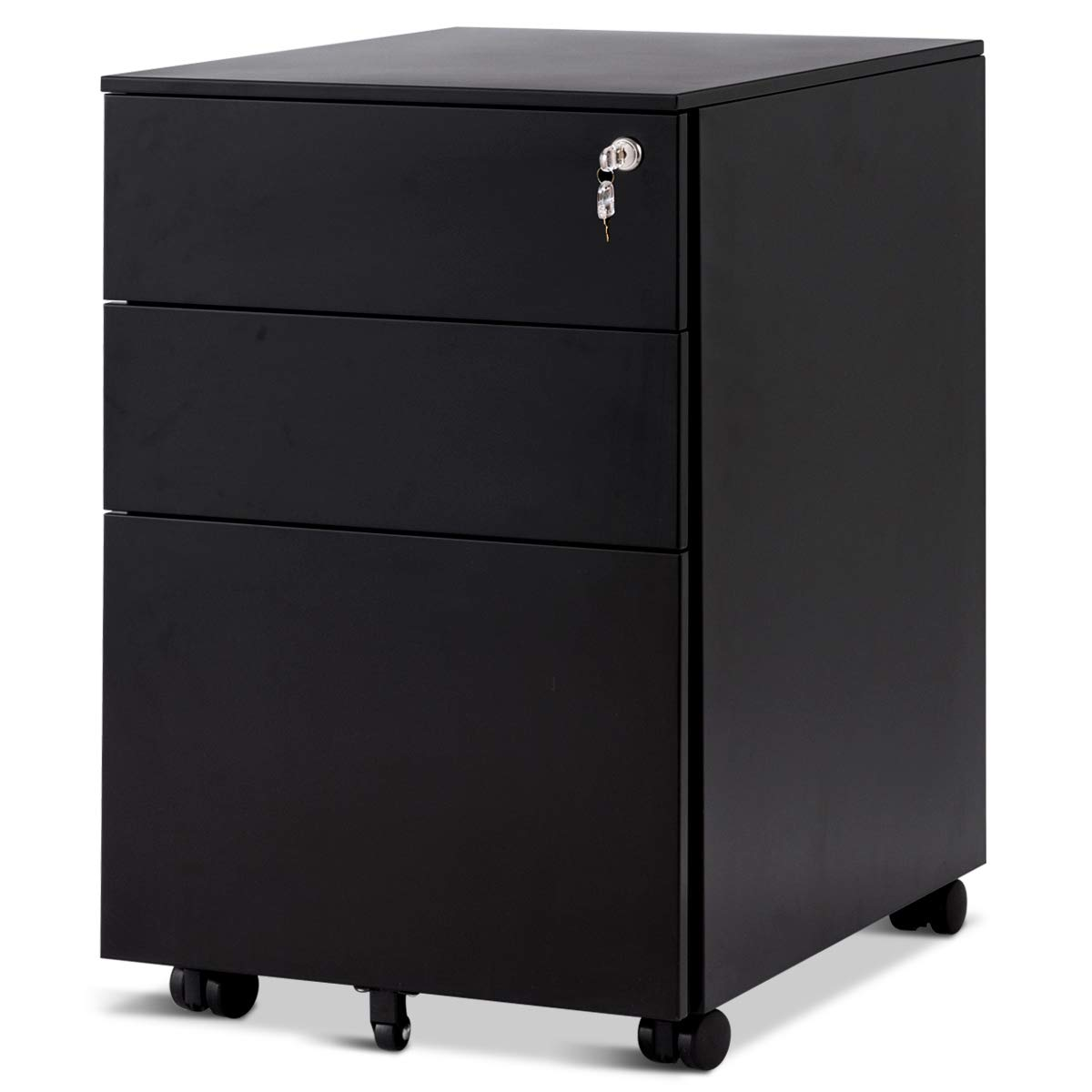 Giantex File Cabinet W/3 Lockable Drawers Include 2 Keys, Wheels, Hanging File Frame and Removable Tray, Metal Vertical Full Assembled for Office Mobile Pedestal Rolling File Cabinet (Black)