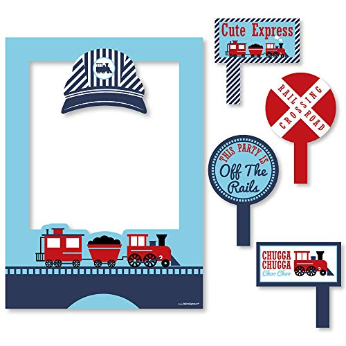 (Railroad Party Crossing - Steam Train Birthday Party or Baby Shower Selfie Photo Booth Picture Frame & Props - Printed on Sturdy Material)
