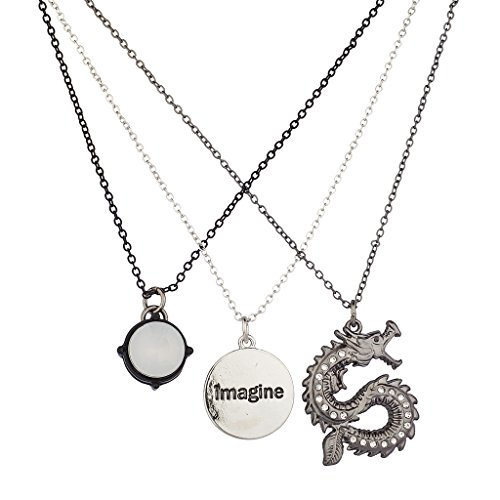 (Lux Accessories Silvertone Mixed Metal Imagine Dragon Charm Necklace)