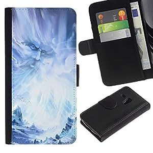 """Samsung Galaxy S3 MINI / i8190 (Not For Galaxy S3) , la tarjeta de Crédito Slots PU Funda de cuero Monedero caso cubierta de piel ("""" God Fairy Wizzard Fairytale Blue Ice Snow"""")"""