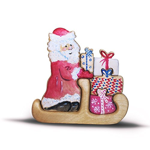Santa with sleigh delivering the gifts