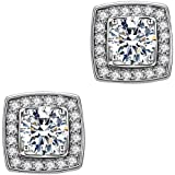 Anmao Jewelry 18k White Gold Plated Cubic Zirconium Cushion Shape Halo Stud Earrings for Women&Girls Stud Earrings Hypoallergenic White Gold Stud Earrings Cubic Zirconia Earrings ML010
