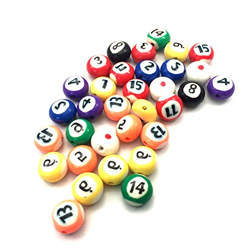 Wooden Scoring Beads - 50PCS 12MM FIMO Billiards Beads Polymer Clay Spacer Beads Mixed Color DIY Jewelry Finding Making