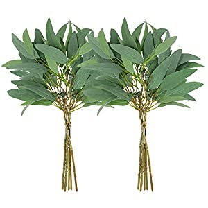Supla 2 Pack Faux Seeded Eucalyptus Long Leaves Greenery Bouquets Long Leaves Grey Green Atificial Eucalyptus Plants Spray with Fruit Pods for Greenery Wedding Bride Baby Shower Woodland Floral Decor 16
