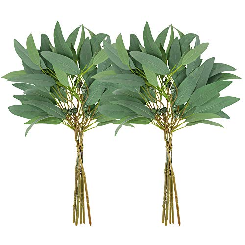 Supla 2 Pack Faux Seeded Eucalyptus Long Leaves Greenery Bouquets Long Leaves Grey Green Atificial Eucalyptus Plants Spray with Fruit Pods for Greenery Wedding Bride Baby Shower Woodland Floral Decor ()