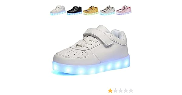 Toddler//Little Kid//Big Kid 4a Z9AJKAJ Kids Boy and Girls Led PU Sneakers Light Up Flashing Skateboard Shoes
