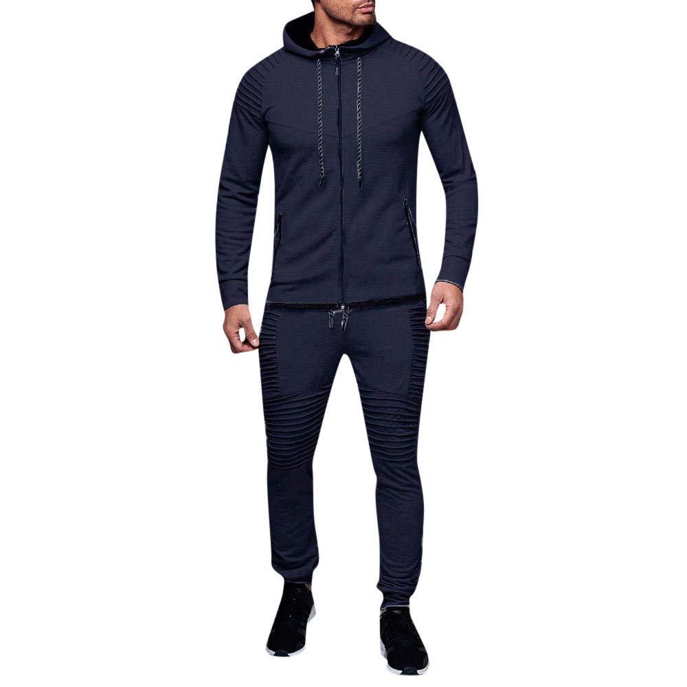 Corriee Fashion Athletic Sports Suit Men 2018 Autumn Winter Casual Pleated Solid Hooded Coat Top Pants Sets by Corriee Men Hoodies (Image #6)