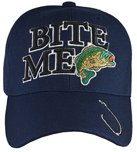 Bite Me Fishing Embroidered Baseball Hat Blue