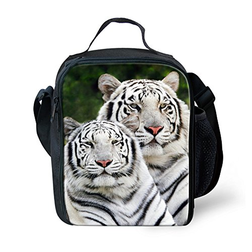 Tiger Brother Pattern School Backpack for Students 3 Pieces Vivid Print Casual Bags Sets With Pencil Case Lunch Bags