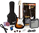 Squier by Fender Affinity Stratocaster Beginner Electric Guitar Pack with Fender FM 10G Amplifier, Clip-On Tuner, Cable, Strap, Picks, and gig bag  - Brown Sunburst