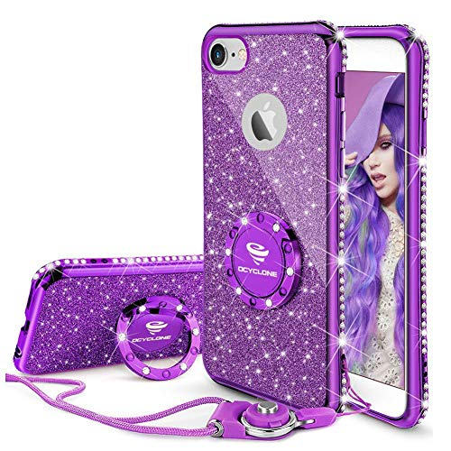 OCYCLONE iPhone 6s Case, iPhone 6 Case for Girl Women, Glitter Cute Girly Diamond Rhinestone Bumper with Ring Kickstand Protective Phone Case for iPhone 6s / iPhone 6 - Purple