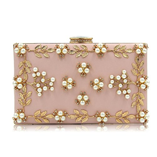 EPLAZA Women Floral Rhinestone Evening Clutch Bags Vintage Beaded Purse Party Wedding Handbag (pink)
