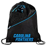 Forever Collectibles Carolina Panthers Official High End Diagonal Zipper Drawstring Backpack Gym Bag