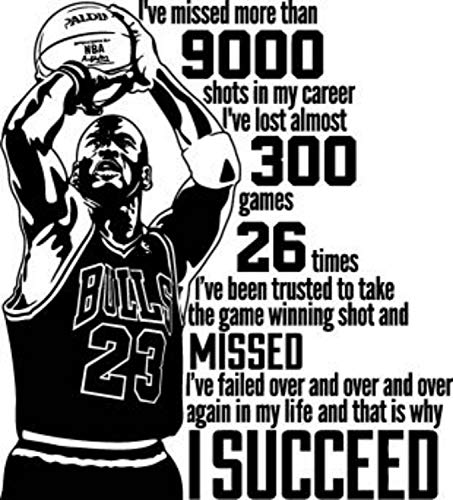 Sports Stickers Wall Item - Michael Jordan Quote Wall Decal I've Missed More Than 9000 Shots Quote Sport Air Basketball Poster Stencil Gym Wall Vinyl Sticker Kids Teen Boy Room Nursery Bedroom Wall Art Decor Mural 836