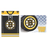 "Sports and Tailgating NHL Party Boston Bruins Invitations & Thank You Cards Set , Paper, 3"" x 5"", Pack of 16"