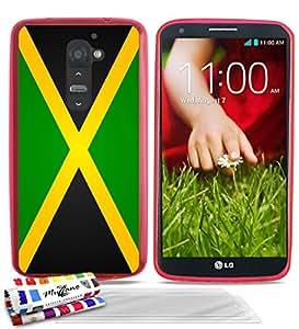"""Carcasa Flexible Ultra-Slim LG G2 de exclusivo motivo [Bandera Jamaica] [Rosa] de MUZZANO  + 3 Pelliculas de Pantalla """"UltraClear"""" + ESTILETE y PAÑO MUZZANO REGALADOS - La Protección Antigolpes ULTIMA, ELEGANTE Y DURADERA para su LG G2"""