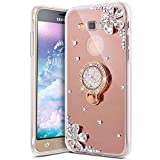 samsung galaxy on7 2016  Bling Glitter Diamond Flower Luxury Rhinestone Soft TPU Silicone Rubber Mirror Case with Ring Stand Holder Gel Bumper Cover Compatible with Samsung Galaxy On7 2016/J7 Prime,Rose gold