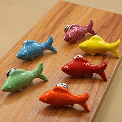 - Idealdecor 6PCS 55mm Colorful Goldfish Shape Ceramic Knobs Pulls Handles for Cabinets Drawer Dresser Closet Wardrobe Cupboard Kitchen Door Furniture with Free Screws