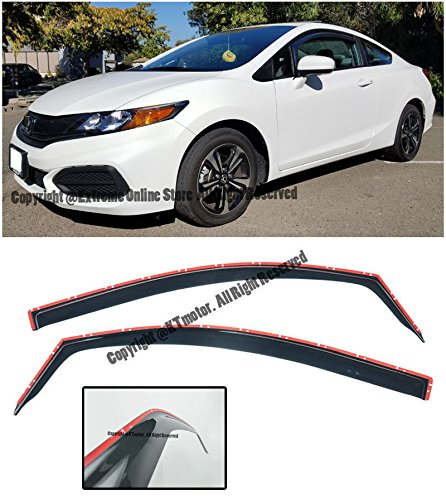 Honda Civic 4dr Wagon (For 2012-2015 Honda Civic 2Dr Coupe JDM IN_CHANNEL Style Side Window Visors Rain Guard Deflectors 2012 2013 2014 2015 12 13 14 15)