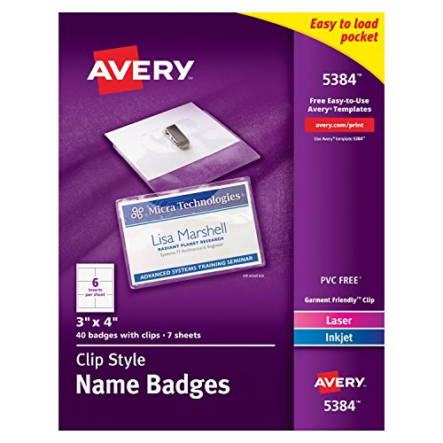 Avery Top Loading Garment Friendly Style Badges