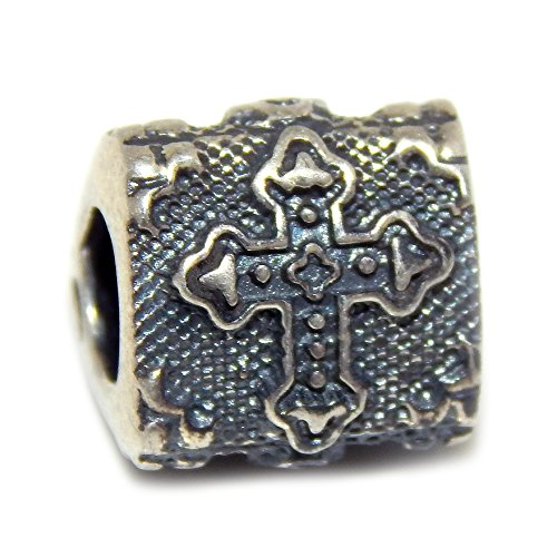 Pro Jewelry 925 Solid Sterling Silver Three-sided with Gothic Crosses Charm Bead