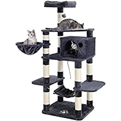 "SONGMICS 69"" Multi-Level Cat Tree with Feeder Bowl, Sisal-Covered Scratching Posts, Hammock, Basket and Condo, Activity Centre for Kittens, Cats and Pets - Large, Smoky Gray UPCT99G"