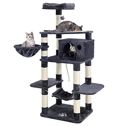 -Level Cat Tree with Feeder Bowl, Sisal-Covered Scratching Posts, Hammock, Basket and Condo, Activity Centre for Kittens, Cats and Pets - Large, Smoky Gray UPCT99G ()