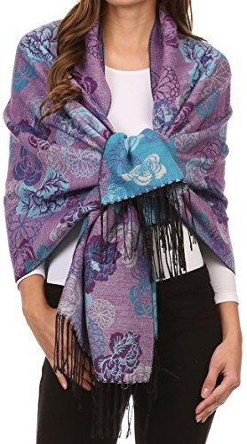 Sakkas CHS1810 - Ontario double layer floral Pashmina/ Shawl/ Wrap/ Stole with fringe - 3-AquaPurple - OS
