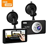 Dash Cam 4'' Touch Screen 1080P HD Car Camera 170° Wide Angle Dashboard Camera with Rear View Cam G-Sensor. Motion Detection, Loop Recording Camera Recorder