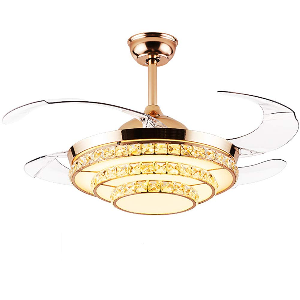 Fandian 42 Crystal Ceiling Fans 4 Retractable Blades LED Ceiling Fan Three Color Changes Gold Chandelier, Silent Motor with Remote Control Gold
