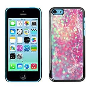 Caucho caso de Shell duro de la cubierta de accesorios de protección BY RAYDREAMMM - Apple iPhone 5C - Teal Pink Purple Sparkly Snow