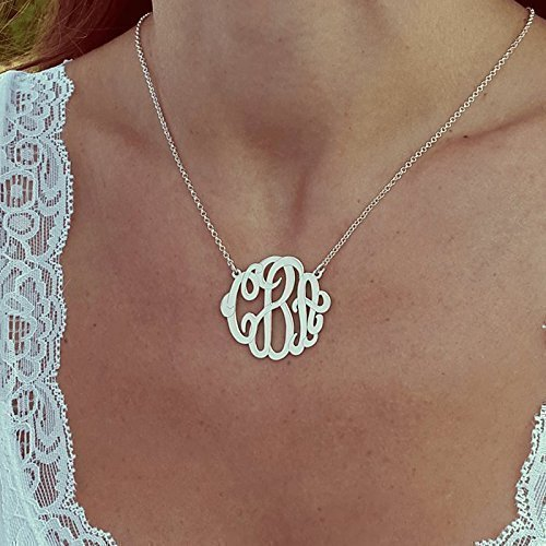 Monogram Necklace – Personalized Monogrammed Jewelry, Sterling Silver, Bridesmaids Gift, Initials Pendant (Sterling Necklace Monogram Silver)