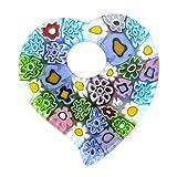 GlassOfVenice Murano Glass Elegant Millefiori Heart Pendant - Pastels
