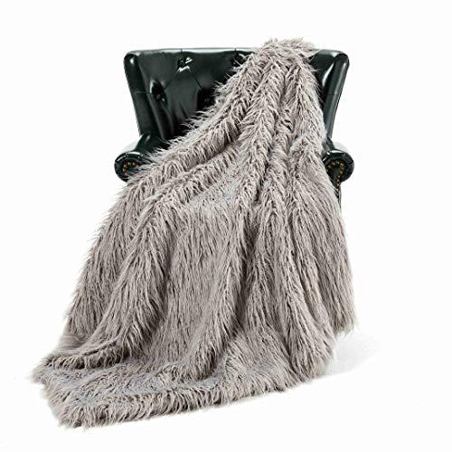 HT&PJ Luxury Faux Fur Throw Blanket Plush Long Shaggy Super Soft Throw Mongolian Fluffy Fur Style Blanket for Living Room (779A Grey 50