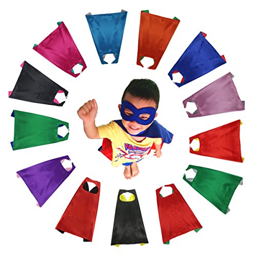 RANAVY Superhero Capes and Masks Bulk Set Dress Up for Kids - Children DIY Birthday Party Costumes (13 -