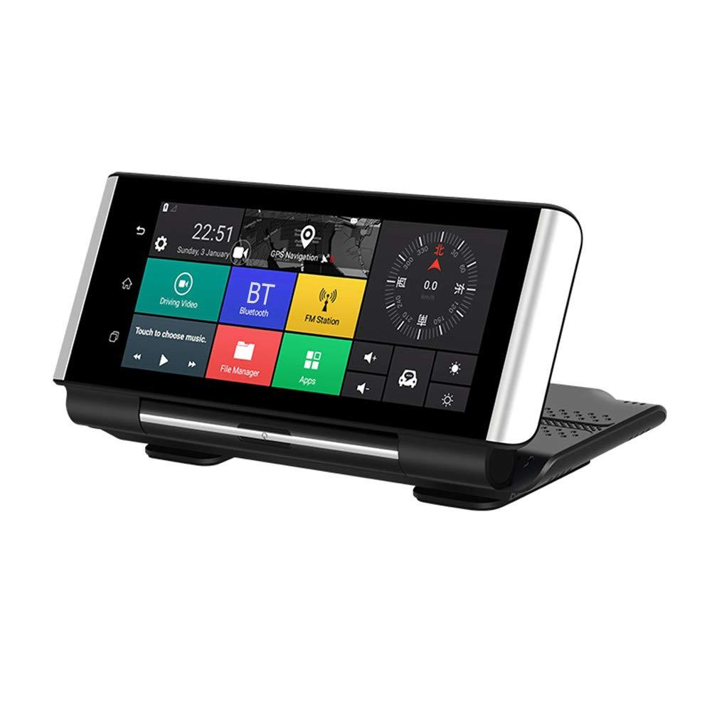Dual Dash Cam Stéréo GPS Bluetooth/WiFi Autoradio 7 Pouces Lecteur MP5 Vidéo de Voiture 1080/480P Enregistreur de Conduite Android 5.1 HD Inversant Image 4G avec G-Senor/ADAS (sans Carte TF)