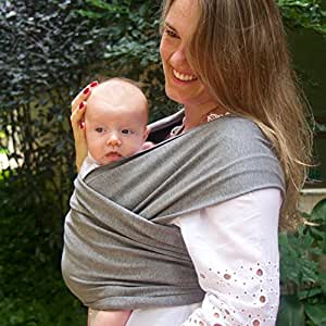 Baby More Co. Baby Wrap - LIFETIME GUARANTEE - Adjustable to All Sizes Baby Carrier Sling. FREE SHIPPING . Safe & Comfortable . Perfect Baby Shower Gift . For Newborns Up To Toddlers Under 32 pounds (Grey)