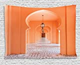 ''Arabian Tapestry by Ambesonne, Moroccan Walkway with Asian Motifs and Arabic Artsy Elements Visual Oriental Photo, Wall Hanging for Bedroom Living Room Dorm, 80 W X 60  Inches, Salmon''