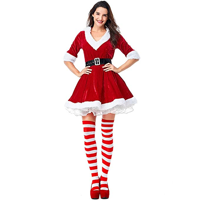 503a0b07a5a5 xingmeihe Women's Mrs. Claus Costume 2 Piece Hooded Santa Sweetie Christmas  Outfit (TagsizeXL=