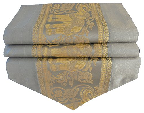 soljo - tablecloth tablerunner table runner linen Thai Silk Elegant precious Elefant 150/200 cm x 30 cm grey (150 cm x 30 cm) by by soljo