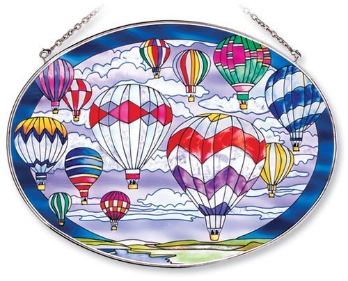 Amia Oval Suncatcher with Hot Air Balloon Design, Hand Painted Glass, 6-1/2-Inch by 9-Inch