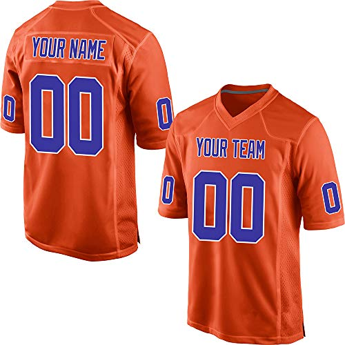 GENPO Customized Women's Orange Mesh Make Your Own Football Jersey Embroidered Team Name and Your Numbers,Royal Blue-White Size L