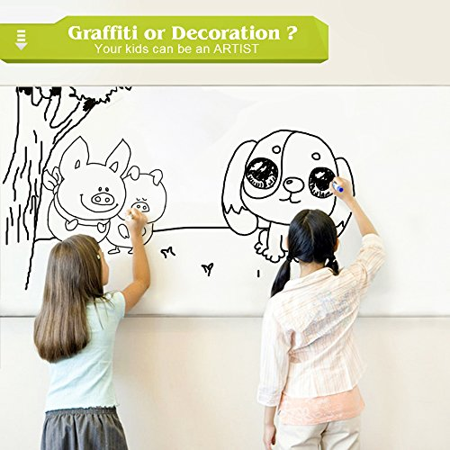 Rabbitgoo White Board Sticker 17.7 by 78.7 Inches Self-Adhesive Wall Sticker Contact Paper for School/ Office/ Home with 1 Marker Pen (for Dry Erase Marker Pen) Photo #6